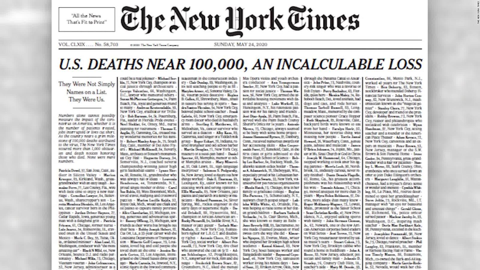 New York Times Publishes Edition With Names Of 1 000 Coronavirus Victims Cnn