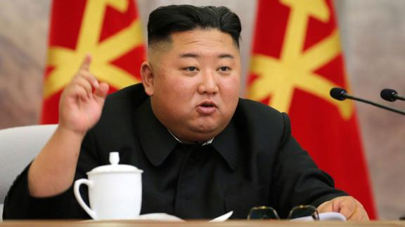 In this undated photo provided on Sunday, May 24, 2020, by the North Korean government, North Korean leader Kim Jong Un speaks during a meeting of the Seventh Central Military Commission of the Workers' Party of Korea in North Korea. Independent journalists were not given access to cover the event depicted in this image distributed by the North Korean government. The content of this image is as provided and cannot be independently verified.