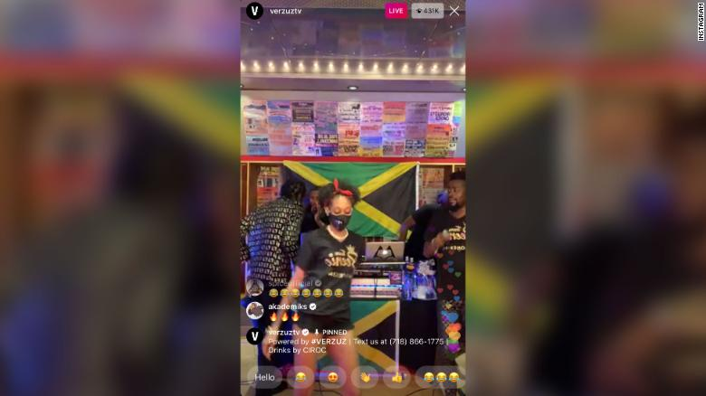 A dancer performs during the Verzuz batttle between Beenie Man and Bounty Killer on Instagram Live on Saturday, May 23, 2020.