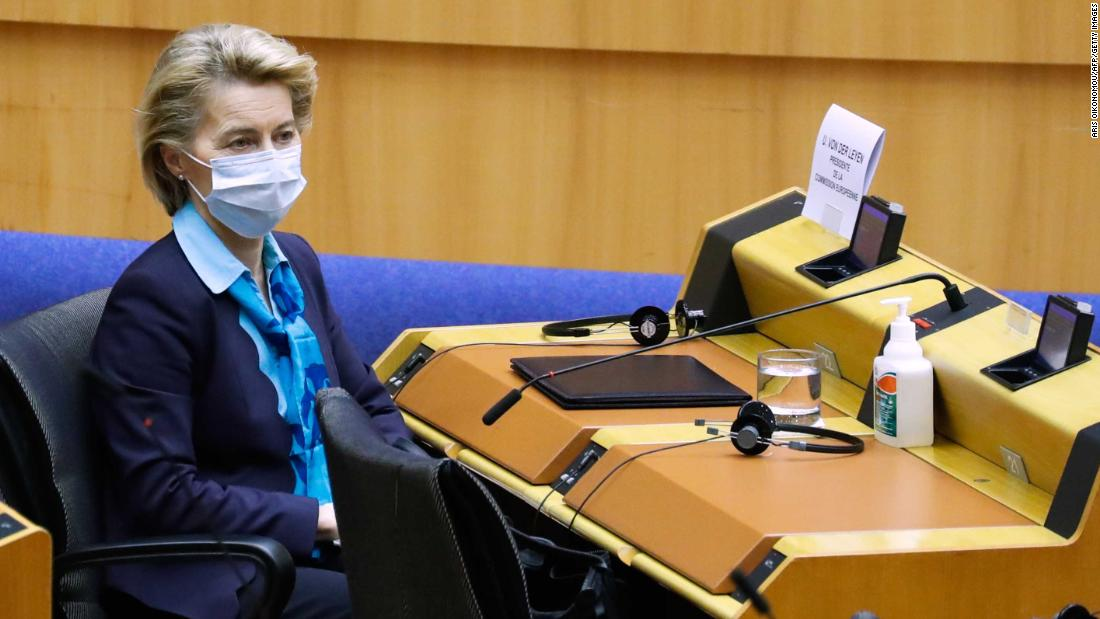 European Commission President Ursula von der Leyen wears a face mask  during a plenary session of the European Parliament in Brussels on May 13,  2020, as Europe begins easing lockdown measures amid the COVID-19 pandemic, caused by the novel coronavirus. - Due to the outbreak of the novel coronavirus, attendance to the plenary session is reduced and mainly video conferenced. (Photo by Aris Oikonomou / AFP) (Photo by ARIS OIKONOMOU/AFP via Getty Images)