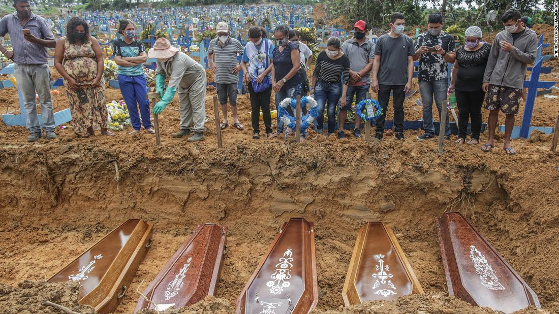 MANAUS, BRAZIL - MAY 19: People wearing protective masks observe to the graves with the remains of their relatives during a mass burial of coronavirus (COVID-19) pandemic victims at the Parque Taruma cemetery on May 19, 2020 in Manaus, Brazil. Brazil has over 260,000 confirmed cases and more than 17,000 deaths caused by coronavirus (COVID-19) pandemic. (Photo by Andre Coelho/Getty Images)