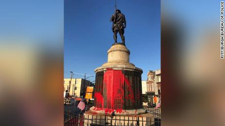 Pittsburgh Police are investigating after a WWI War Memorial at Doughboy Square in Lawrenceville was vandalized overnight, according to a release from the Pittsburgh Bureau of Police.