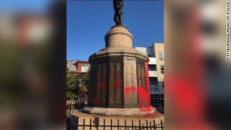 A WWI memorial was covered in red paint on Memorial Day.