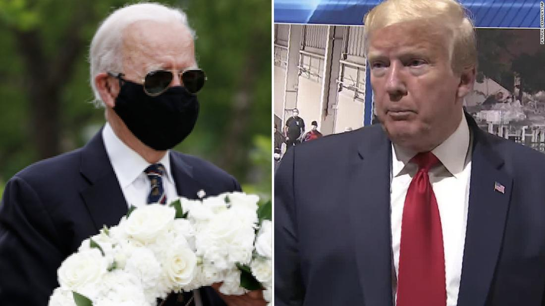Trump retweets criticism of Joe Biden for wearing mask - CNN Video