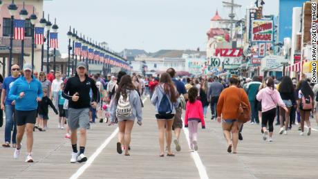 Memorial Day crowds on the Ocean City, Maryland boardwalk.