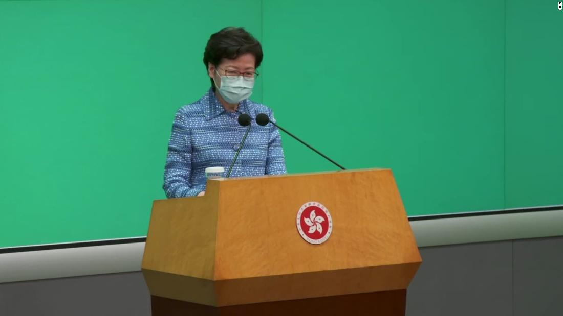 Hong Kong leader Carrie Lam answers a question from CNN's Anna Coren.