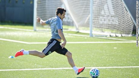 Portland Timbers midfielder Sebastian Blanco trains individually at the team practice facility on May 8 in Portland.