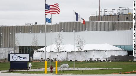 Temporary tents are setup outside the Tyson plant on Wednesday, April 29, 2020, in Waterloo.