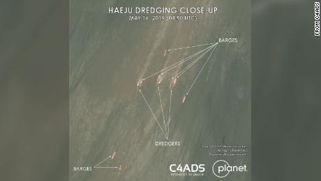 This handout image courtesy of C4ADS shows ships in the waters off the coast of the North Korean city of Haeju.""