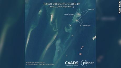 This handout image courtesy of C4ADS shows ships in the waters off the coast of the North Korean city of Haeju.