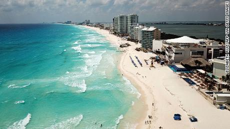 Aerial view of an almost empty beach in Cancun, Quintana Roo state, Mexico