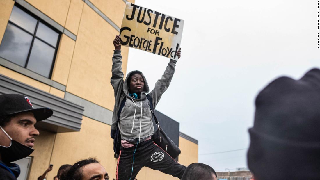 Protesters gather Tuesday, May 26, near the Minneapolis Police Third Precinct.