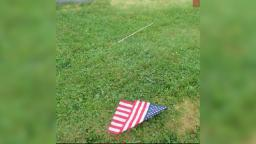 Graves of veterans vandalized with torn American flags, police say