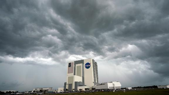 Storm clouds pass over NASA's Vehicle Assembly Building at Kennedy Space Center on May 27.
