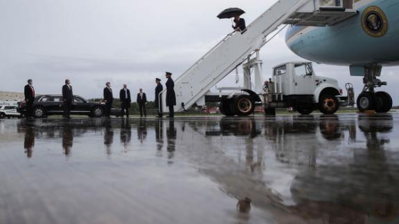 The Trumps exit Air Force One as they arrive at Kennedy Space Center on May 27.