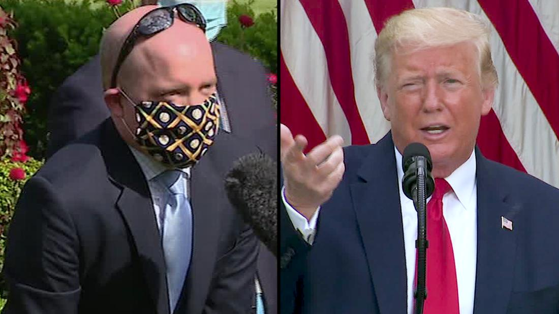 Trump mocks journalist for wearing mask