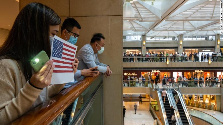 Hong Kong protesters attend a rally in a shopping mall on May 28, 2020 in Hong Kong, China.