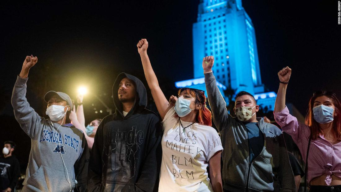 Protesters gather in Los Angeles on Wednesday.