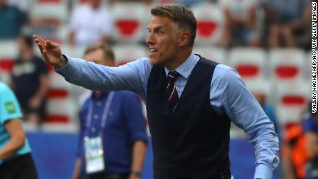 England's coach Neville gestures during the France 2019 Women's World Cup third place game.