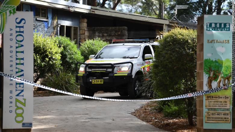 An ambulance at the Shoalhaven Zoo is seen on Friday.