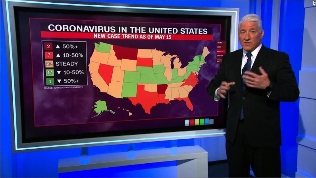 See how state coronavirus trends evolved in May