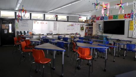 A classroom sits empty at Kent Middle School in Kentfield, California.