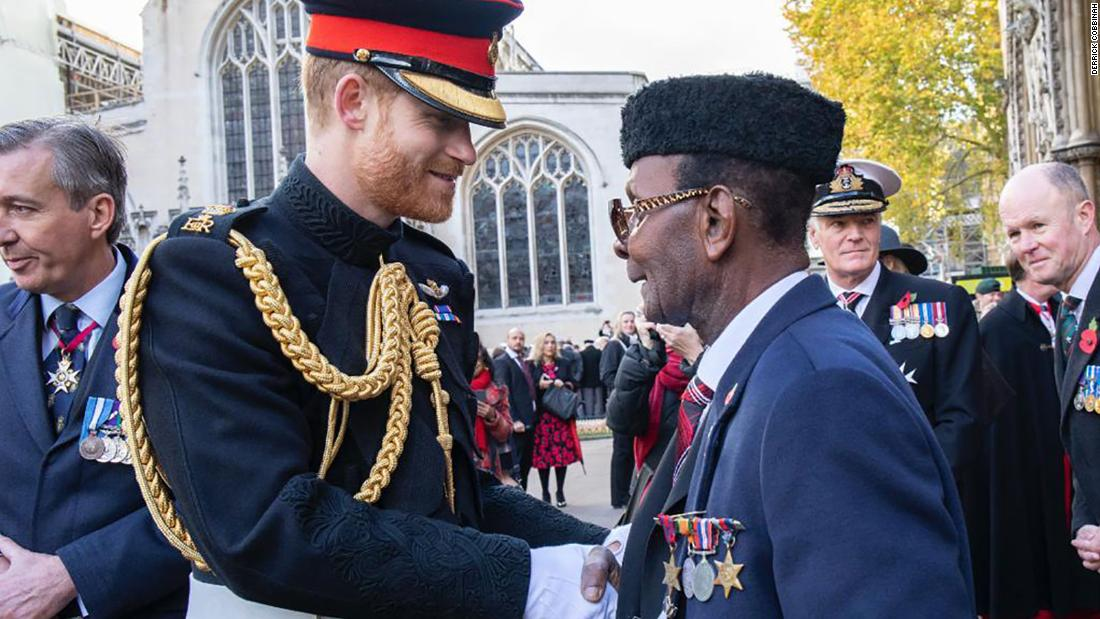 Ghanaian war veteran Private Joseph Hammond meeting Prince Harry at an event in November for Commonwealth soldiers in London.