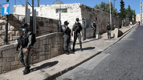 Israeli police officers secure the area of Lion's Gate in Jerusalem's Old City on Saturday, May 30.