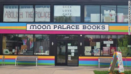Moon Palace Books before it was vandalized and boarded up.