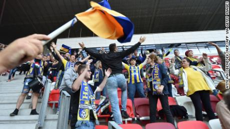 Supporters of Mezokovesd appeared to be ignoring social distancing rules as they cheer their team on during its 1-0 defeat.