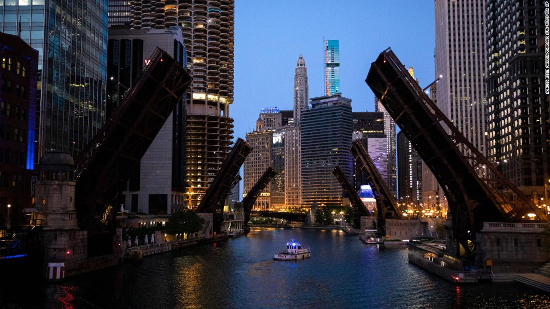 Bridges over the Chicago River are lifted to limit transportation to and from the Loop, where protesters clashed with police in Chicago on May 30.