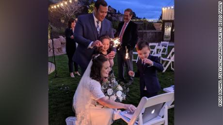Marisa and Luis Bello of Las Vegas set up a laptop to livestream their wedding, held April 3 in Utah, so friends and family could vitrually join the celebration.