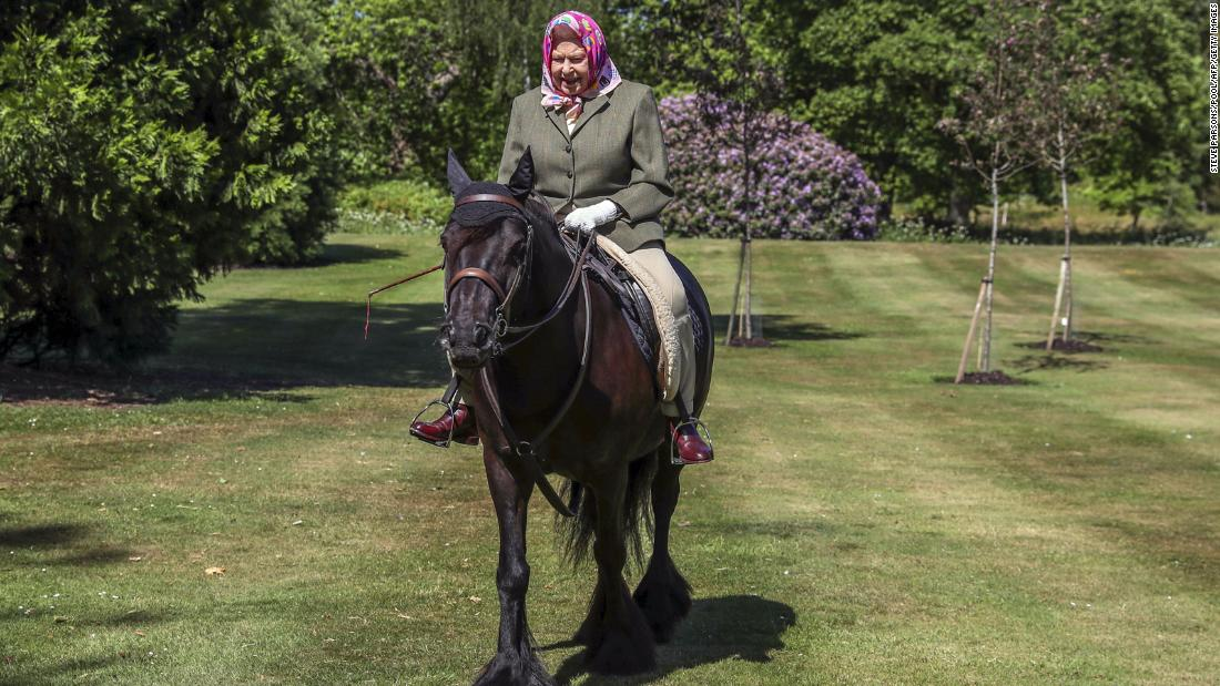 "The Queen <a href=""https://edition.cnn.com/2020/06/01/uk/uk-queen-elizabeth-horse-riding-gbr-intl-scli/index.html"" target=""_blank"">rides a horse </a>in Windsor, England, in May 2020. It was her first public appearance since the coronavirus lockdown began in the United Kingdom."