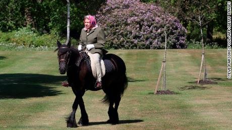 Queen Elizabeth II riding Balmoral Fern, a 14-year-old Fell pony, over the weekend.