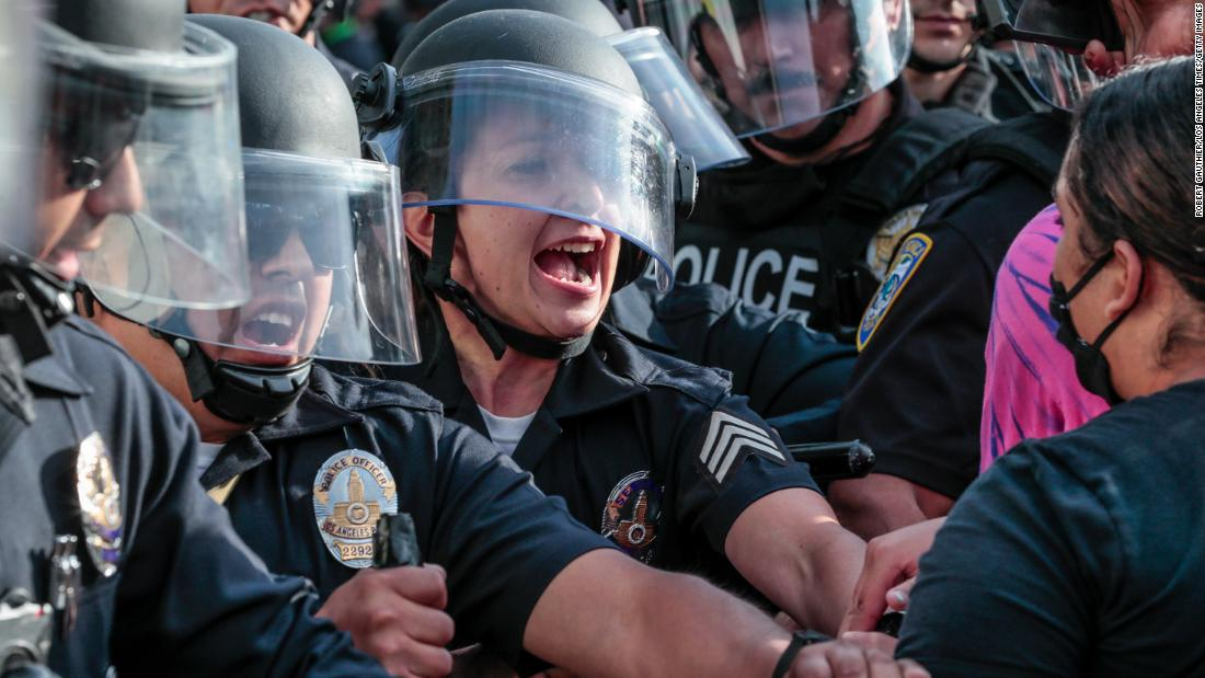 Protestors face off with police in downtown Santa Monica, California, on May 31.