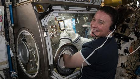 Serena Auñón-Chancellor conducted research aboard the International Space Station for the AngieX Cancer Therapy study inside the Microgravity Science Glovebox on July 3, 2018.