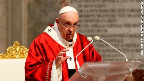 Pope Francis celebrates the Pentecost mass on May 31, 2020 at St Peter's Basilica at the Vatican.
