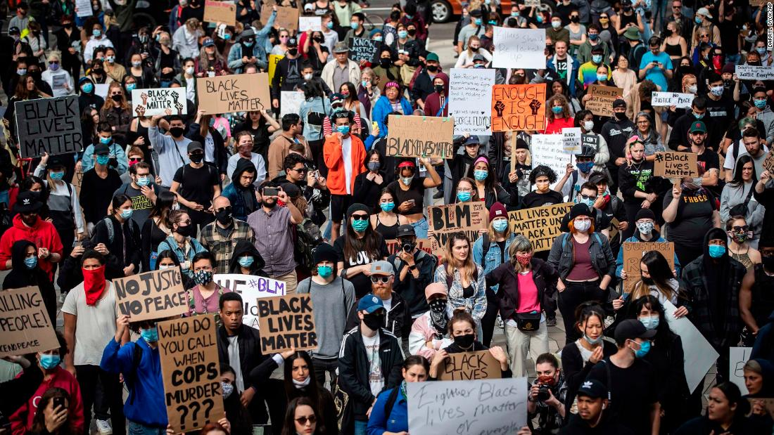 Thousands of people gather for a peaceful demonstration to protest against racism in Vancouver on Sunday, May 31.