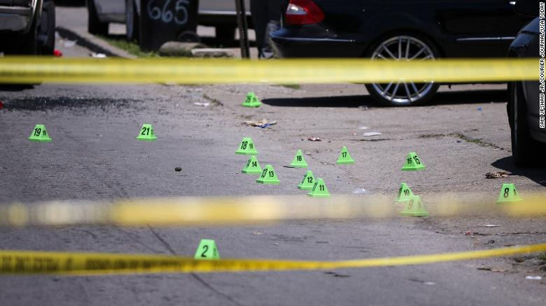 Investigators marked the shell casings after McAtee was shot.