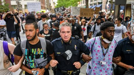 Denver Police Chief Paul Pazen connects guns to protesters.