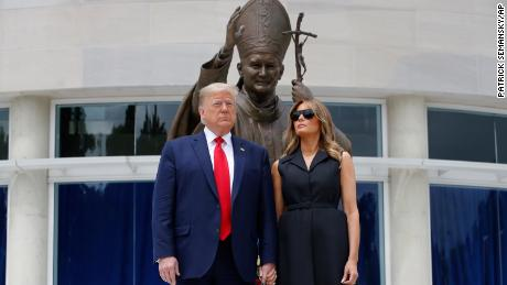 President Donald Trump and first lady Melania Trump visit Saint John Paul II National Shrine, Tuesday, June 2, 2020, in Washington.
