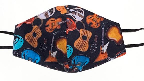 Face Mask Cotton Reversible Rock Star Guitar Print