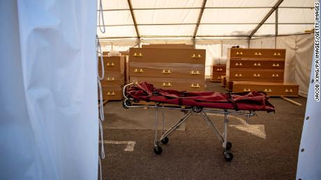 A stretcher which had been used recently to transport a body into a temporary morgue at a mosque in Birmingham, central England.