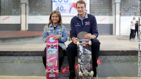 Brown (left) and Laureus Academy Member Tony Hawk pose during the Laureus Sport for Good Skateboard Visit prior to the 2020 Laureus World Sports Awards.