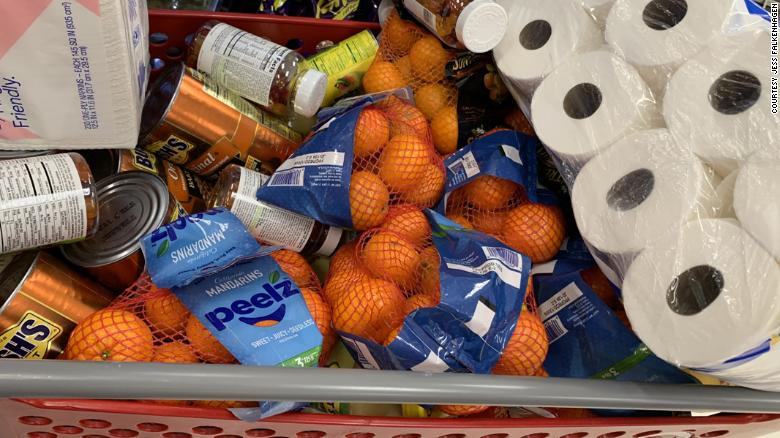 Supplies fill a shopping cart before being delivered to the Navajo nation.
