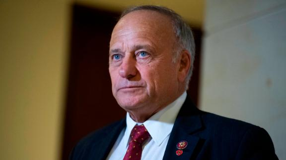 UNITED STATES - OCTOBER 16: Rep. Steve King, R-Iowa, attends a news conference after being denied entrance to the deposition and access to the transcripts related to the House's impeachment inquiry in the Capitol Visitor Center on Wednesday, Oct. 16, 2019. Michael McKinley, a former State Department adviser, and Kurt Volker, the former special envoy to Ukraine, were being deposed inside.(Photo By Tom Williams/CQ Roll Call via AP Images)