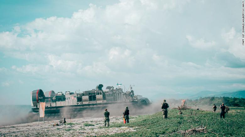 A US Navy landing craft offloads Marines during an exercise in the Philippines in 2019.