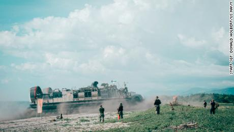 A US Navy landing craft brings US Marines ashore at the Naval Education Training Center, Philippines in a 2019 exercise.