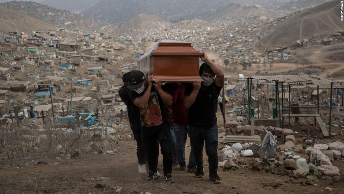 People carry the coffin of a suspected coronavirus victim at the Nueva Esperanza cemetery, on the outskirts of Lima, Peru, on Thursday, May 28. Peru has the second-highest number of coronavirus cases in South America, behind Brazil.
