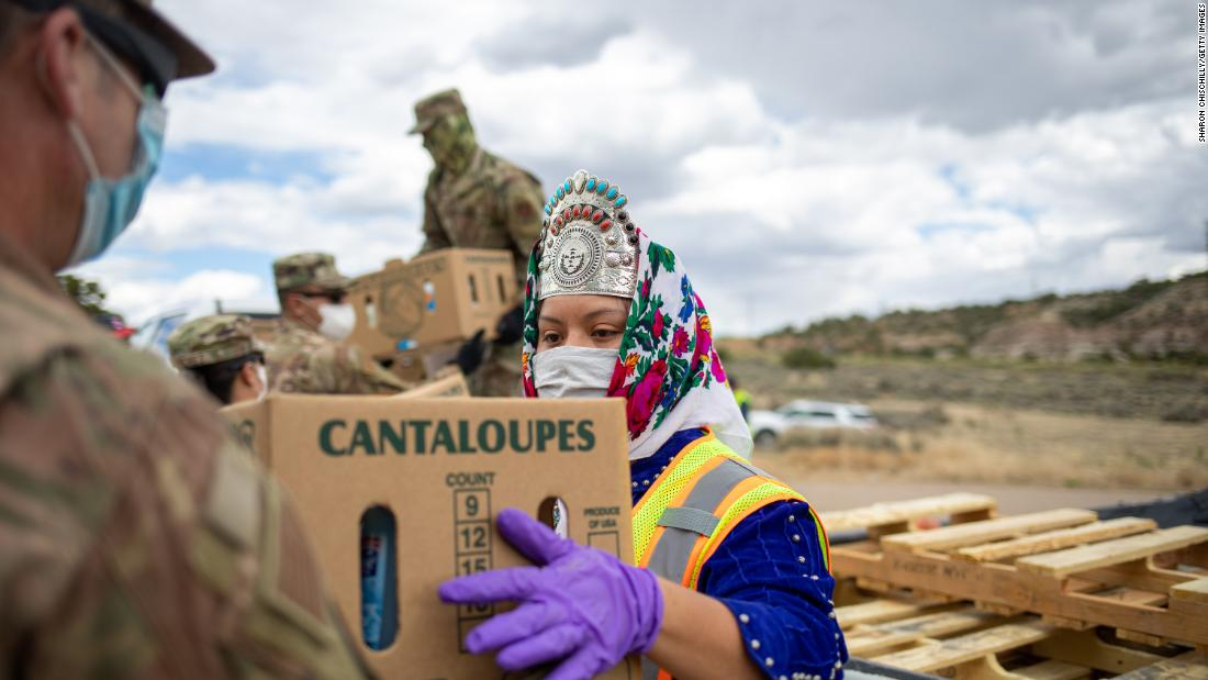 "Shaandiin P. Parrish, Miss Navajo Nation, helps distribute food and other supplies to Navajo families in Counselor, New Mexico, on May 27. Navajo Nation <a href=""https://www.cnn.com/2020/05/18/us/navajo-nation-infection-rate-trnd/index.html"" target=""_blank"">has been hit hard by the coronavirus.</a>"